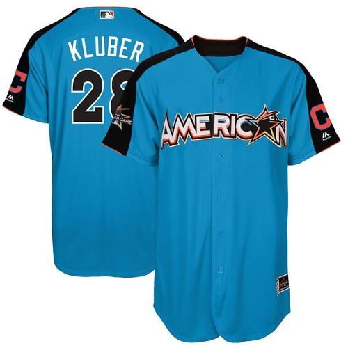 Men's Majestic Cleveland Indians #28 Corey Kluber Authentic Blue American League 2017 MLB All-Star MLB Jersey