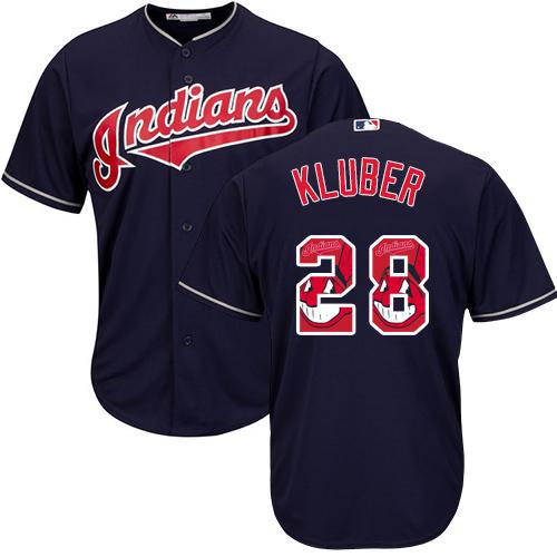 Men's Majestic Cleveland Indians #28 Corey Kluber Authentic Navy Blue Team Logo Fashion Cool Base MLB Jersey