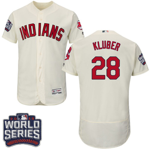 Men's Majestic Cleveland Indians #28 Corey Kluber Cream 2016 World Series Bound Flexbase Authentic Collection MLB Jersey