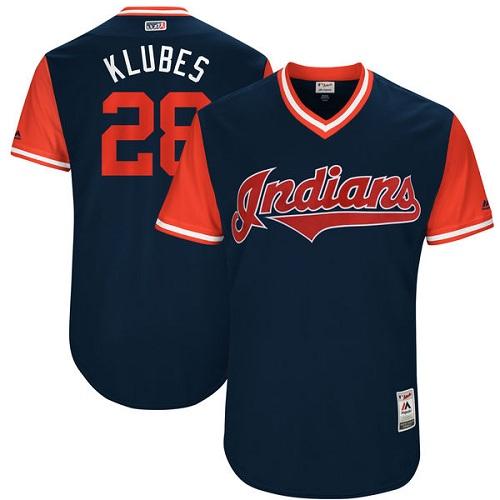 Men's Majestic Cleveland Indians #28 Corey Kluber