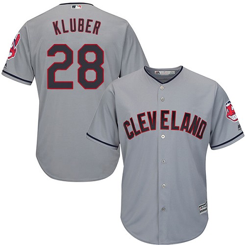 Men's Majestic Cleveland Indians #28 Corey Kluber Replica Grey Road Cool Base MLB Jersey