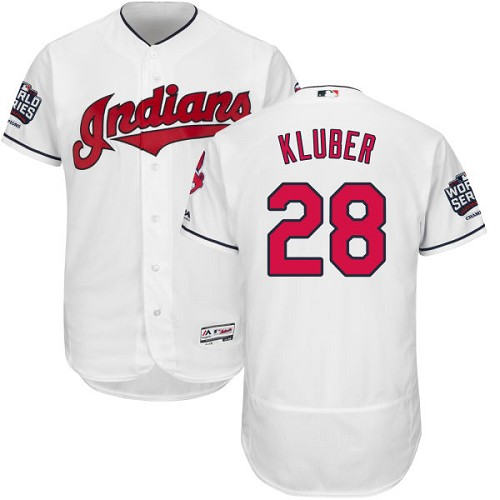 Men's Majestic Cleveland Indians #28 Corey Kluber White 2016 World Series Bound Flexbase Authentic Collection MLB Jersey