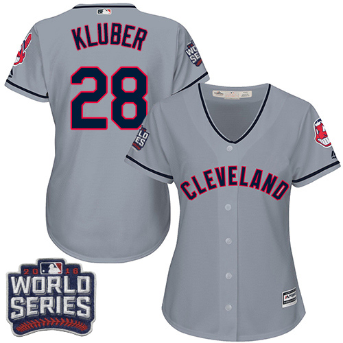 Women's Majestic Cleveland Indians #28 Corey Kluber Authentic Grey Road 2016 World Series Bound Cool Base MLB Jersey