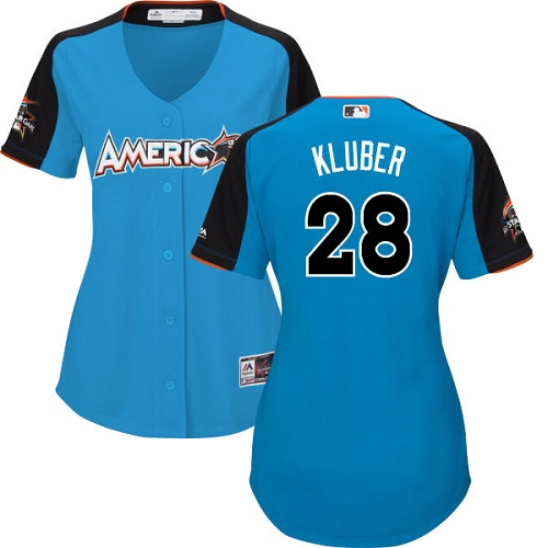 Women's Majestic Cleveland Indians #28 Corey Kluber Replica Blue American League 2017 MLB All-Star MLB Jersey