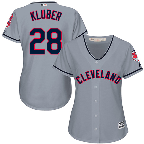 Women's Majestic Cleveland Indians #28 Corey Kluber Replica Grey Road Cool Base MLB Jersey