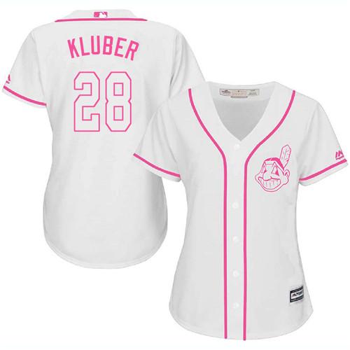 Women's Majestic Cleveland Indians #28 Corey Kluber Replica White Fashion Cool Base MLB Jersey