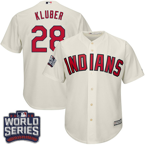 Youth Majestic Cleveland Indians #28 Corey Kluber Authentic Cream Alternate 2 2016 World Series Bound Cool Base MLB Jersey