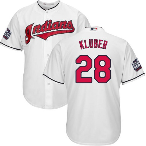 Youth Majestic Cleveland Indians #28 Corey Kluber Authentic White Home 2016 World Series Bound Cool Base MLB Jersey