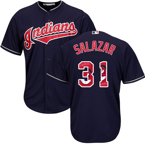 Men's Majestic Cleveland Indians #31 Danny Salazar Authentic Navy Blue Team Logo Fashion Cool Base MLB Jersey