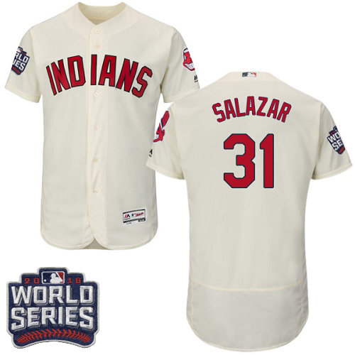 Men's Majestic Cleveland Indians #31 Danny Salazar Cream 2016 World Series Bound Flexbase Authentic Collection MLB Jersey