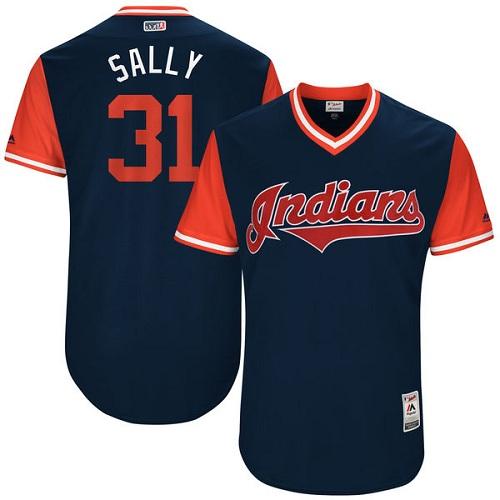Men's Majestic Cleveland Indians #31 Danny Salazar