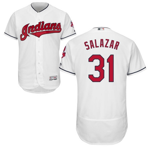 Men's Majestic Cleveland Indians #31 Danny Salazar White Home Flex Base Authentic Collection MLB Jersey