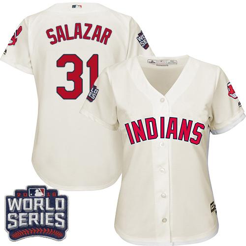 Women's Majestic Cleveland Indians #31 Danny Salazar Authentic Cream Alternate 2 2016 World Series Bound Cool Base MLB Jersey