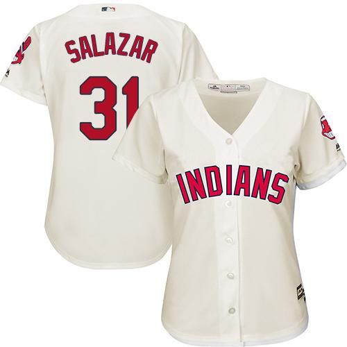 Women's Majestic Cleveland Indians #31 Danny Salazar Replica Cream Alternate 2 Cool Base MLB Jersey