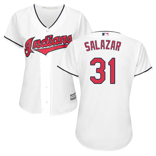 Women's Majestic Cleveland Indians #31 Danny Salazar Replica White Home Cool Base MLB Jersey
