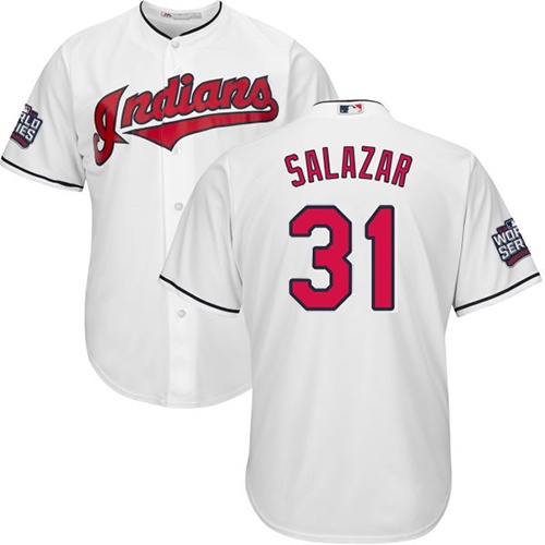 Youth Majestic Cleveland Indians #31 Danny Salazar Authentic White Home 2016 World Series Bound Cool Base MLB Jersey