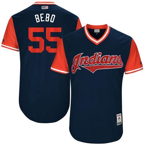 Men's Majestic Cleveland Indians #55 Roberto Perez