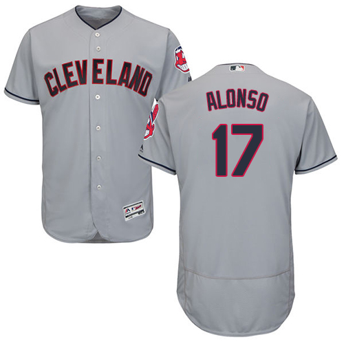 Men's Majestic Cleveland Indians #17 Yonder Alonso Grey Road Flex Base Authentic Collection MLB Jersey