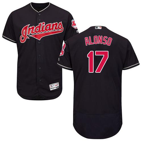Men's Majestic Cleveland Indians #17 Yonder Alonso Navy Blue Alternate Flex Base Authentic Collection MLB Jersey