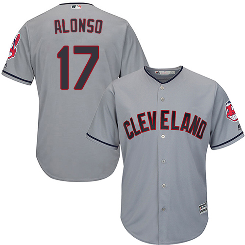 Men's Majestic Cleveland Indians #17 Yonder Alonso Replica Grey Road Cool Base MLB Jersey