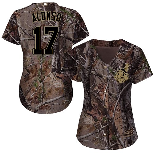 Women's Majestic Cleveland Indians #17 Yonder Alonso Authentic Camo Realtree Collection Flex Base MLB Jersey