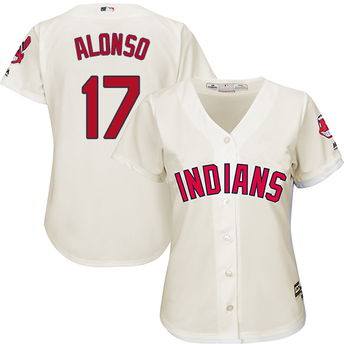 Women's Majestic Cleveland Indians #17 Yonder Alonso Replica Cream Alternate 2 Cool Base MLB Jersey