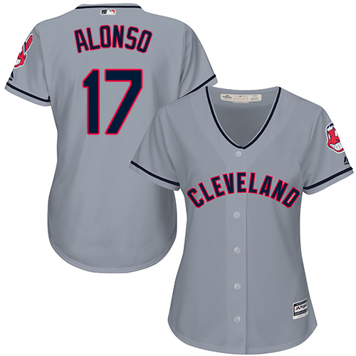Women's Majestic Cleveland Indians #17 Yonder Alonso Replica Grey Road Cool Base MLB Jersey