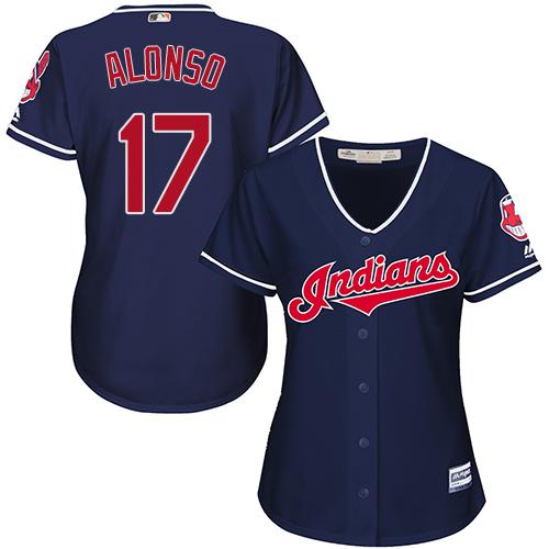 Women's Majestic Cleveland Indians #17 Yonder Alonso Replica Navy Blue Alternate 1 Cool Base MLB Jersey