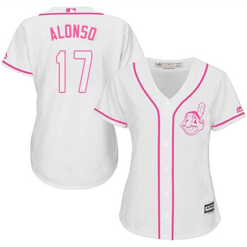 Women's Majestic Cleveland Indians #17 Yonder Alonso Replica White Fashion Cool Base MLB Jersey