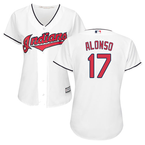 Women's Majestic Cleveland Indians #17 Yonder Alonso Replica White Home Cool Base MLB Jersey
