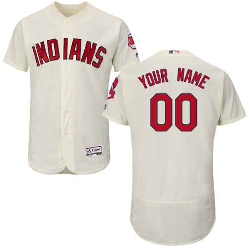 Men's Majestic Cleveland Indians Customized Cream Alternate Flex Base Authentic Collection MLB Jersey