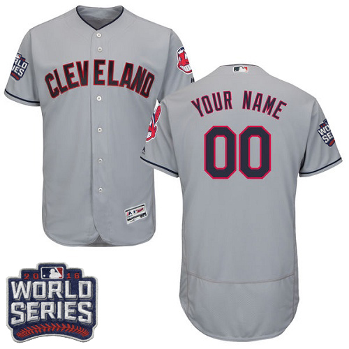 Men's Majestic Cleveland Indians Customized Grey 2016 World Series Bound Flexbase Authentic Collection MLB Jersey