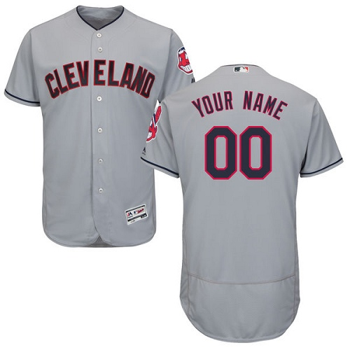 Men's Majestic Cleveland Indians Customized Grey Road Flex Base Authentic Collection MLB Jersey