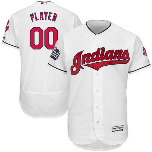 Men's Majestic Cleveland Indians Customized White 2016 World Series Bound Flexbase Authentic Collection MLB Jersey