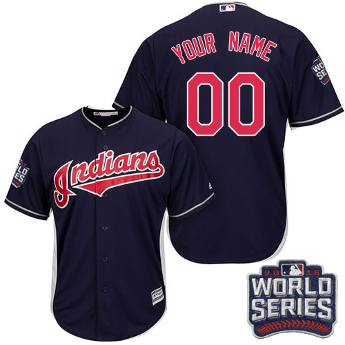 Youth Majestic Cleveland Indians Customized Authentic Navy Blue Alternate 1 2016 World Series Bound Cool Base MLB Jersey