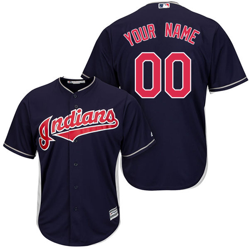 Youth Majestic Cleveland Indians Customized Replica Navy Blue Alternate 1 Cool Base MLB Jersey