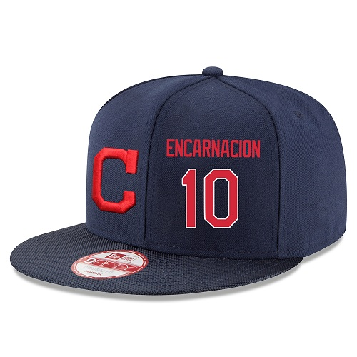 MLB Majestic Cleveland Indians #10 Edwin Encarnacion Stitched Snapback Adjustable Player Hat - Navy/Red