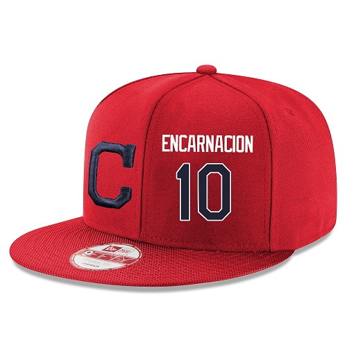 MLB Majestic Cleveland Indians #10 Edwin Encarnacion Stitched Snapback Adjustable Player Hat - Red/Navy