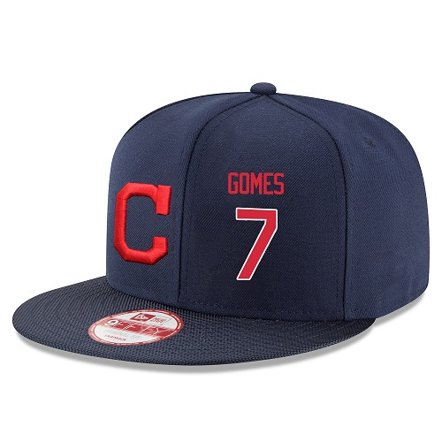 MLB Majestic Cleveland Indians #7 Yan Gomes Stitched Snapback Adjustable Player Hat - Navy/Red