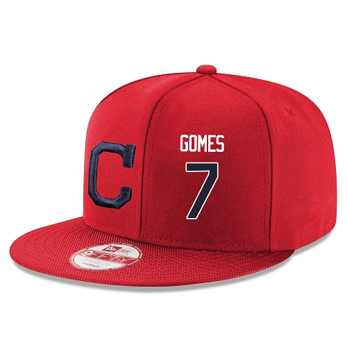 MLB Majestic Cleveland Indians #7 Yan Gomes Stitched Snapback Adjustable Player Hat - Red/Navy