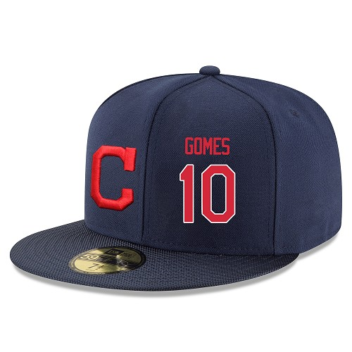 MLB Men's Cleveland Indians #10 Yan Gomes Stitched Snapback Adjustable Player Hat - Navy/Red