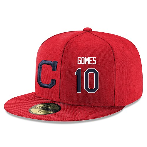MLB Men's Cleveland Indians #10 Yan Gomes Stitched Snapback Adjustable Player Hat - Red/Navy