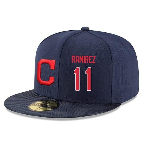 MLB Men's Cleveland Indians #11 Jose Ramirez Stitched Snapback Adjustable Player Hat - Navy/Red