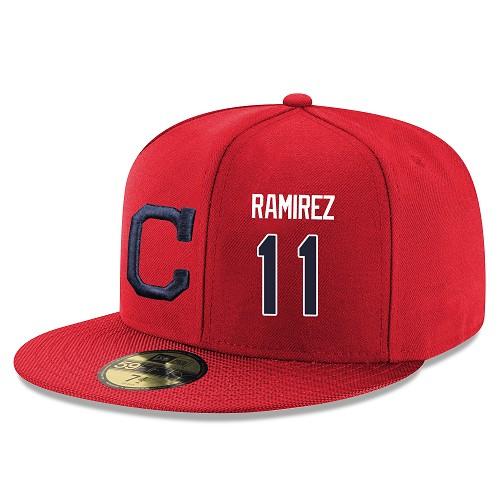 MLB Men's Cleveland Indians #11 Jose Ramirez Stitched Snapback Adjustable Player Hat - Red/Navy