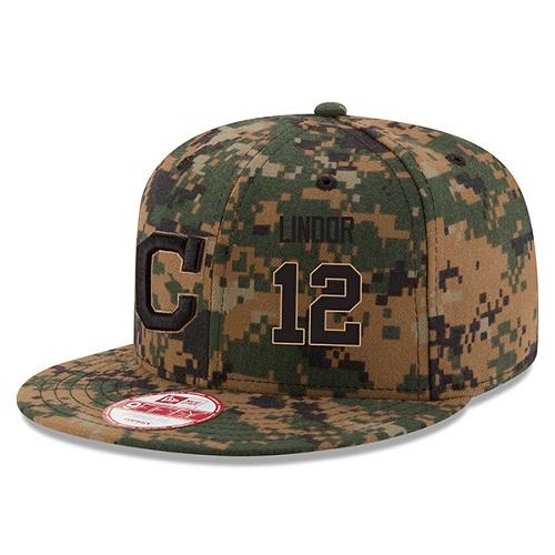 MLB Men's Cleveland Indians #12 Francisco Lindor New Era Digital Camo 2016 Memorial Day 9FIFTY Snapback Adjustable Hat