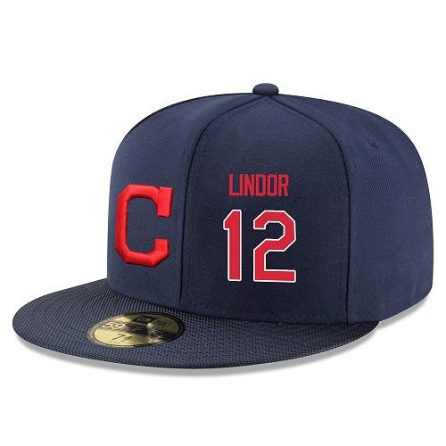 MLB Men's Cleveland Indians #12 Francisco Lindor Stitched Snapback Adjustable Player Hat - Navy/Red