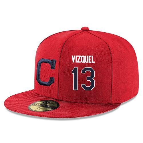 MLB Men's Cleveland Indians #13 Omar Vizquel Stitched Snapback Adjustable Player Hat - Red/Navy