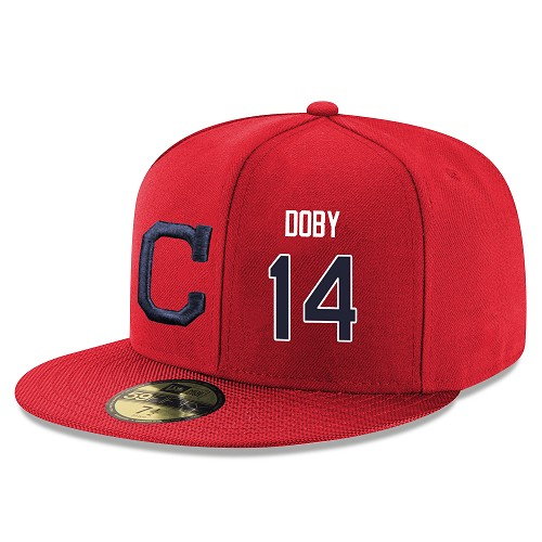 MLB Men's Cleveland Indians #14 Larry Doby Stitched Snapback Adjustable Player Hat - Red/Navy