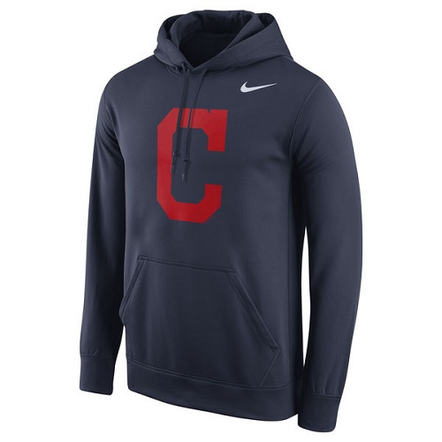 MLB Cleveland Indians Nike Logo Performance Pullover Hoodie - Navy