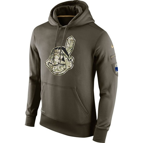 MLB Cleveland Indians Nike Olive Salute To Service KO Performance Hoodie